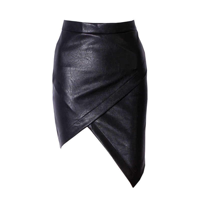На заказ женские сексуальные с высокой талией Асимметричные Женская мини-юбка нерегулярные искусственная кожа плюс размер сумки Юбки До Колена