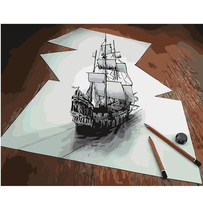 3D nova pintura desenho barco de vela Home Decor abstract imagem Por Números de Lona trabalho de Mão decoração Parede Da sala de Arte