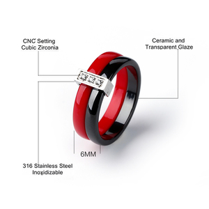 Image 2 - Обручальное кольцо из нержавеющей стали, двухслойное керамическое кольцо розового, фиолетового и красного цвета, ювелирные изделия для женщин, аксессуары
