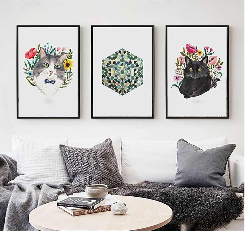 Nordic Simple Grass Cat 3 Pieces Decorative Paintings Wall Art Print Picture Canvas Painting Poster For Living Room No Framed Painting Poster Print Pictures Canvasdecorative Painting Aliexpress