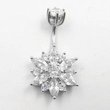 цены 925 sterling silver cubic zircon belly ring flower navel ring