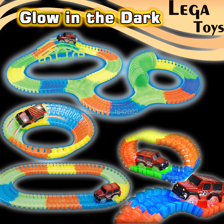 Flashing Slot Glow racecar track Electric LED light up Racing car Flex Flash in the Dark Assembly Educational Toys for Children