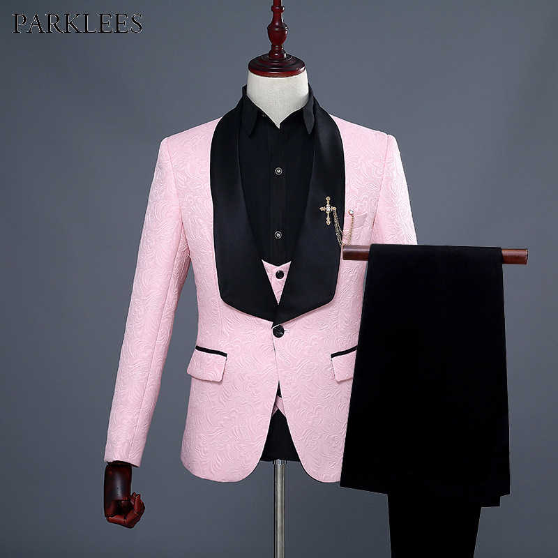Mens One Button Shawl Lapel Floral Jacquard 3 Pcs Suits 2019 Brand New Wedding Groom Prom Tuxedo Suit Men Terno Masculino Pink