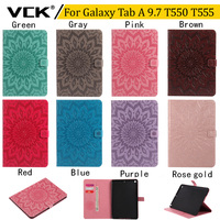 VCK Emboss Flower Pattern TPU Flip Leather For Samsung Galaxy Tab A 9 7 T550 T555