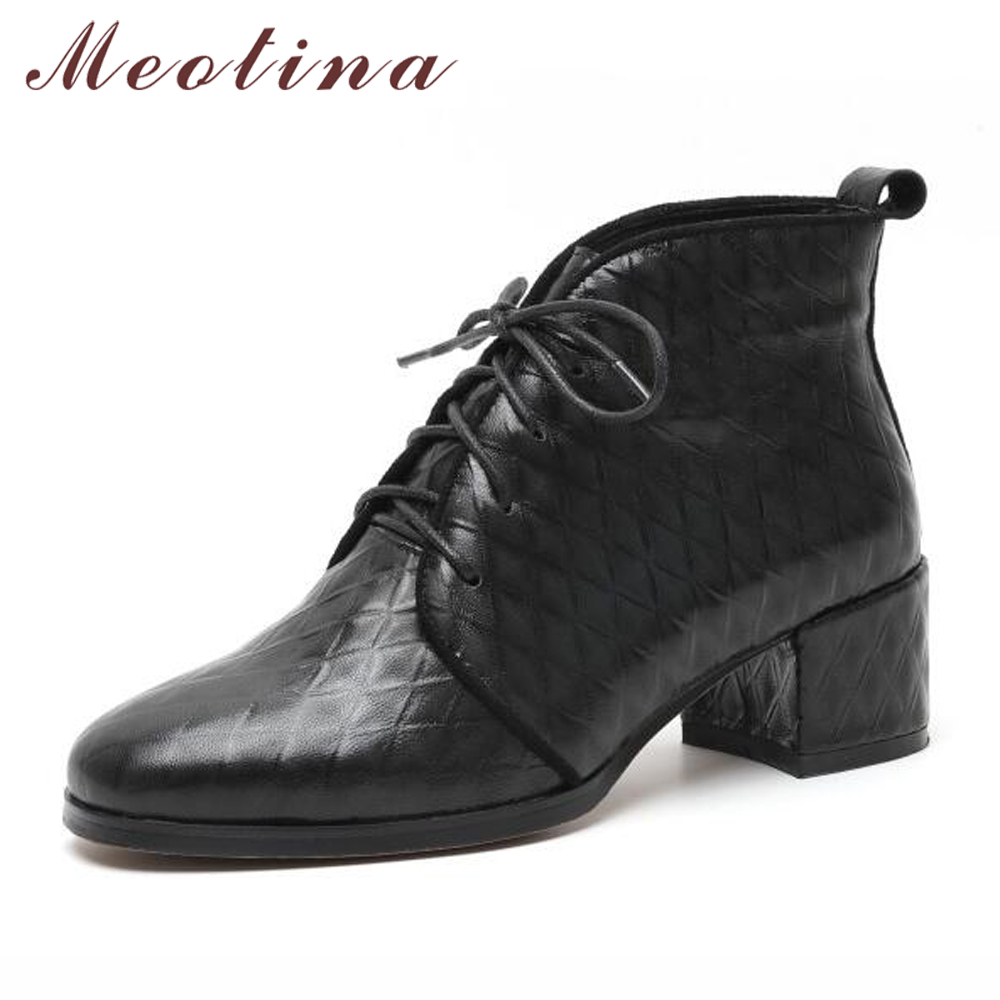 Meotina Ankle Boots Women Genuine Leather Boots Winter Lace Up Square Heel Shoes Sheepskin Martin Boots Red Black Size 33-40 цена 2017