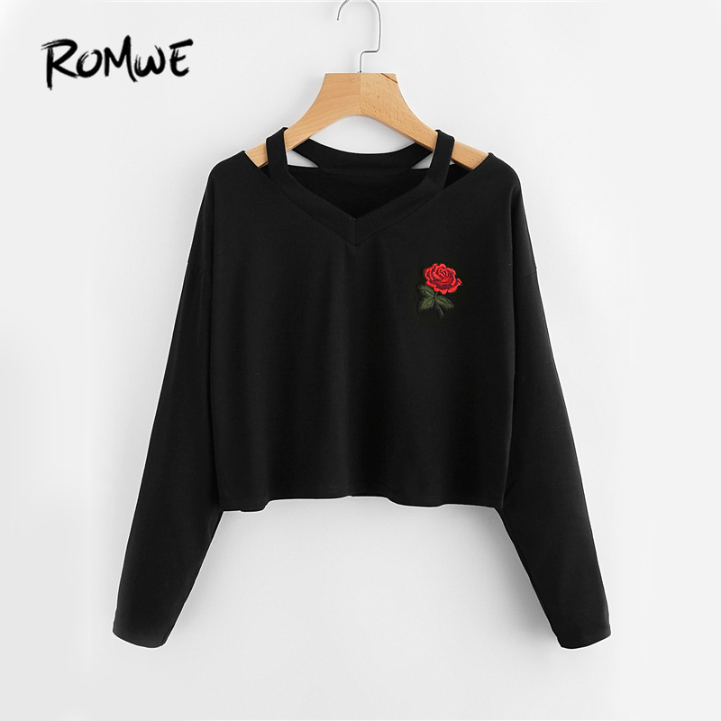 ROMWE Cut Out Neck Sexy T-shirt Rose Patch Black Tee 2019 Women V Neck Autumn Tops Fashion Long Sleeve Embroidery Casual T-shirt