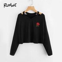 ROMWE Cut Out Neck Sexy T Shirt Rose Patch Black Tee 2017 Women V Neck Aurumn