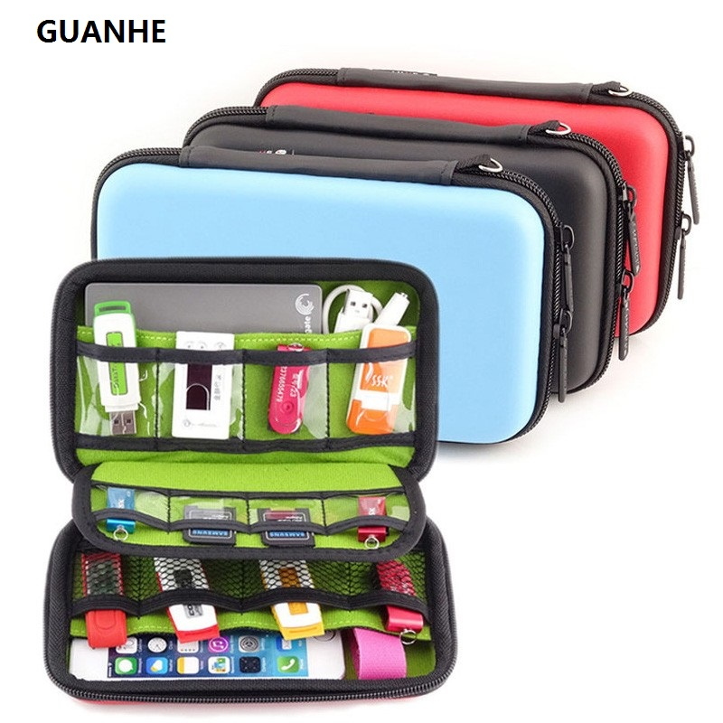 GUANHE Waterproof  Hard Drive Earphone USB Flash Case Digital Storage Bags Organize Box Pochette Disque Dur 2.5 Hard Drive