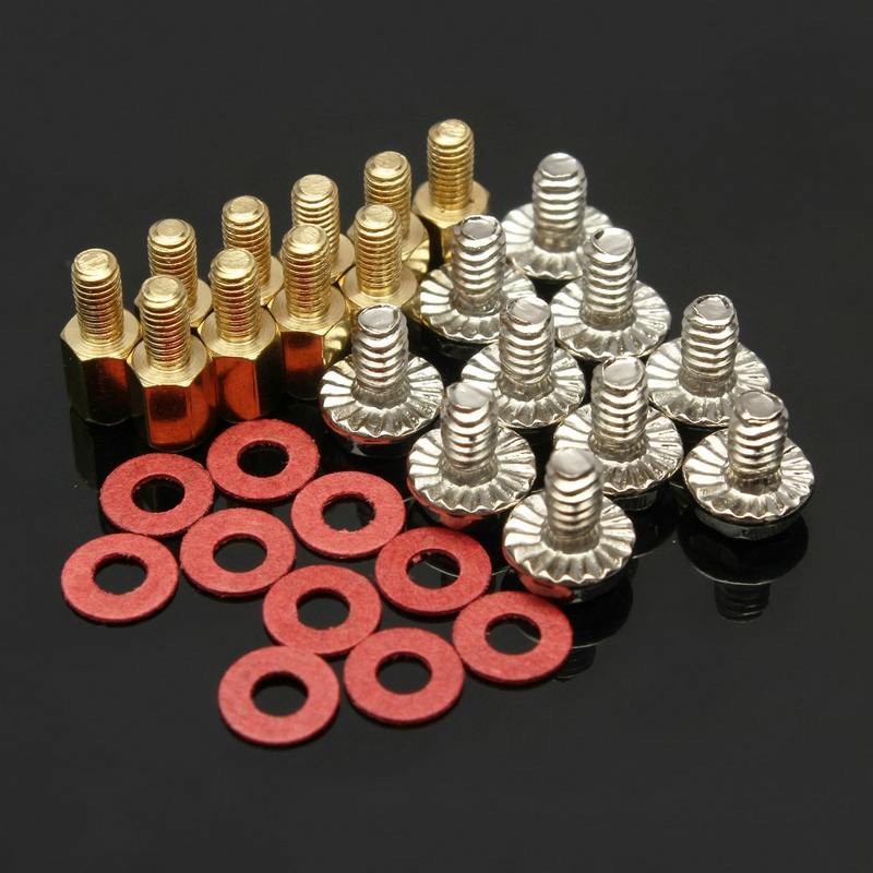 10Pcs 6.5mm 6-32-M3 Computer Golden Motherboard Riser+Silver Screws + Red Washers 10x 6 5mm brass standoff 6 32 m3 pc case motherboard riser screws washers