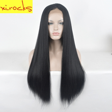 hot deal buy xi.rocks long straight lace front wig synthetic black wigs for black women heat resistant lace front wigs false hair for girls