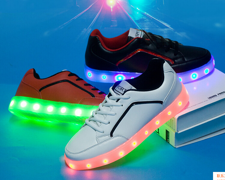 521f10cddbcd 2016 new 7 color led light shoes colorful female spring led charge flash  casual lovers single net fabric neon shoes men