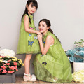 2016 verano vestido de madre e hija de poliéster a juego ropa de mirada de la familia de madre e hija madre e hija vestido family clothing
