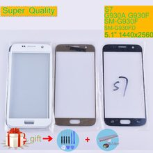 S7 For Samsung Galaxy S7 G930 G930F SM-G930F SM-G930FD Touch Screen Front Glass Panel TouchScreen Outer Glass Lens NO LCD(China)