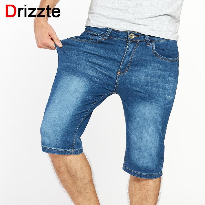 Drizzte Brand Mens <font><b>Jeans</b></font> Shorts Plus Size Stretch Thin Denim <font><b>Jeans</b></font> Short for Men Pants Summer Size 33 35 36 38 40 42 44 46 <font><b>Jean</b></font>