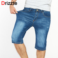 Drizzte Brand Mens Jeans Shorts Plus Size Stretch Thin Denim Jeans Cuffed Short For Men Pants