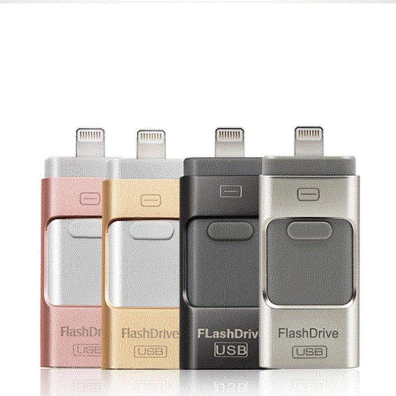 Wholesale Pen drive 128GB 64GB 32GB 16GB Metal USB OTG iFlash Drive HD USB Flash Drives for iPhone iPad iPod iOS Android Phone