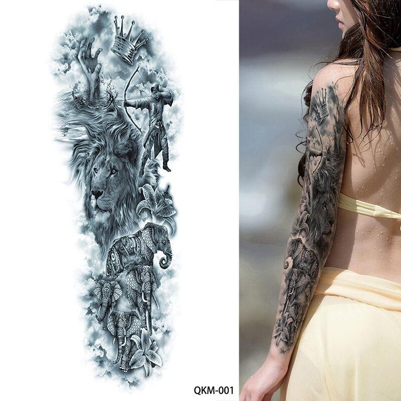 1 Sheet Big Large Zeus Ancient Greek Mythology Temporary Tattoos Full Arm Leg Waist Art Tattoo Beauty Warrior Sticker