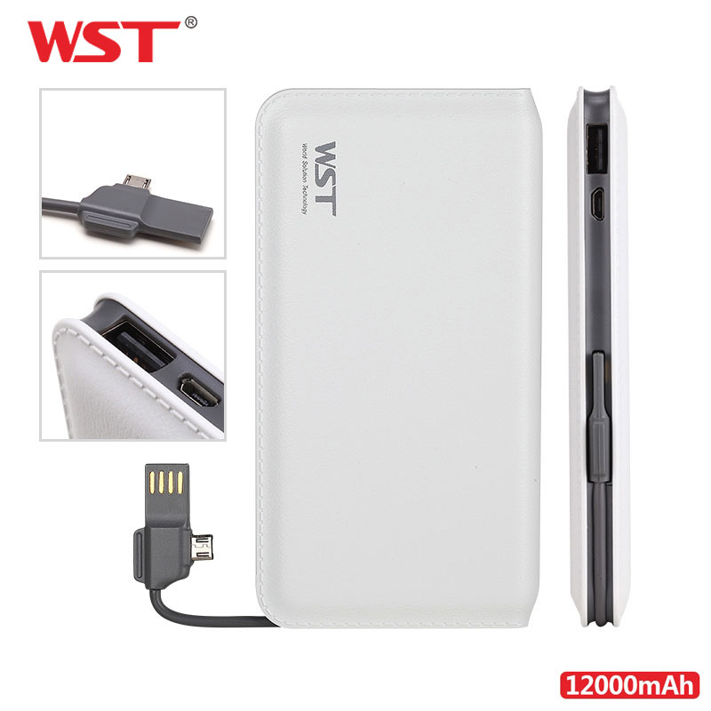 WST Original Power Bank <font><b>12000mAh</b></font> External Portable <font><b>Phone</b></font> Battery With Built in Charging Cable LED Indicator Slim Bateria Externa image