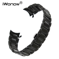 22mm Curved End Stainless Steel Watchband For Samsung Gear S3 Classic Frontier Butterfly Buckle Wrist Strap