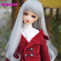 Free Shipping 1/3 Bjd Pullip High temperature Fiber Synthetic Silver Grey Long Bottomed Buckle Curly Hair Wig On Sale In MUZIWIG