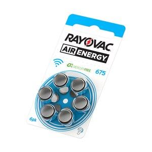 Image 1 - 60 יחידות חדש 1.45 V Rayovac אנרגיית אוויר אבץ אבץ אוויר אוויר סיוע מכשיר שמיעה 675 סוללות 675A A675 PR44 סוללה