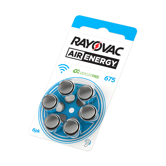 60 PCS NEW Zinc Air 1.45V Rayovac Air Energy Zinc Air Hearing Aid Batteries 675A A675 675 PR44 Hearing Aid Battery