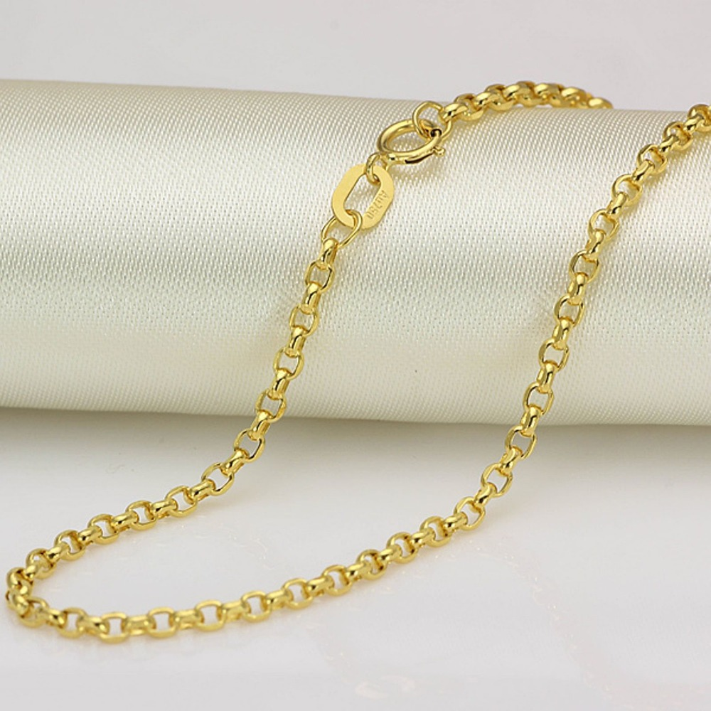 New Real 18k  Yellow Gold Chain Women Cable Rolo Link Necklace 20inchNew Real 18k  Yellow Gold Chain Women Cable Rolo Link Necklace 20inch