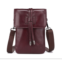 Women Wine Red Genuine Leather Mini Phone Bags Shoulder Bag for Huawei P30 P30 Pro Free Shipping