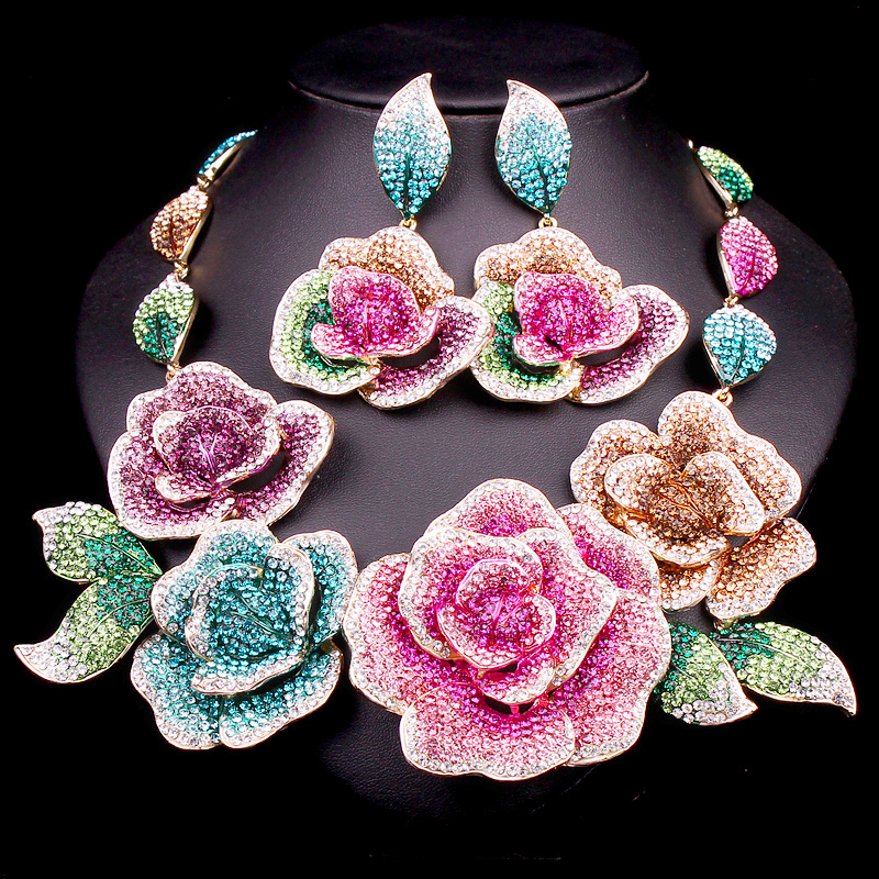 Gorgeous Bridal Jewelry Sets Wedding Necklace Earrings For Brides Party Accessories Big Flowers Costume Decoration Gift Women