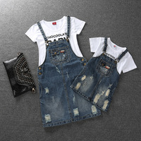 Family Look Mom Girls Denim Dress Hole Distressed Mom And Daughter Denim Strap Dresses Summer Casual Family Matching Clothing