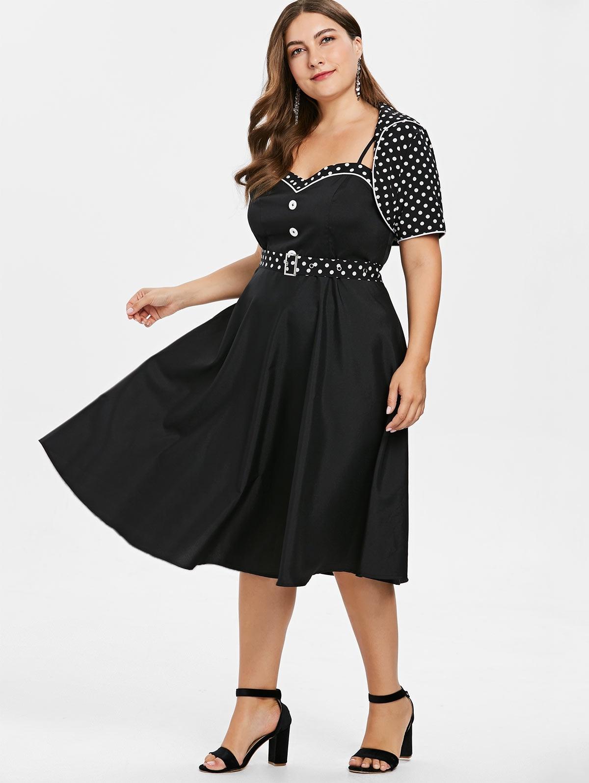 Wipalo Vintage Plus Size Polka Dot Vintage Dress With Belt Women Short  Sleeves Flared Retro Cape Spring Dress Vestidos Femme 5XL