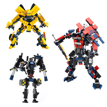 2in1 Transformation DIY Building Blocks Toys Bumblebee Optimus Prime Dinosaur Autobots Legoe Compatible Bricks Gift For Children