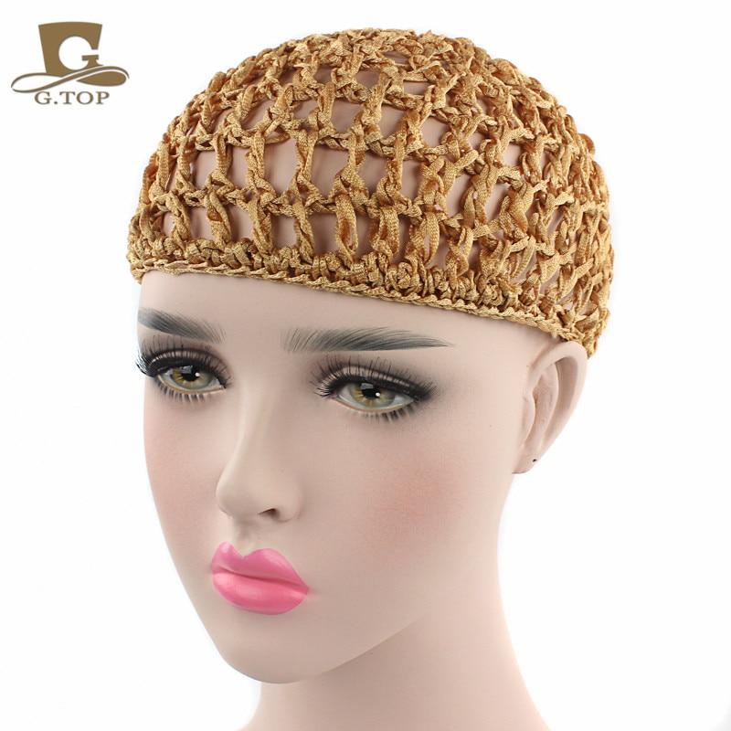 New fashion Women Ladies Rayon Small Thick Hair Net Handmade Crochet Design Snood Hair Accessory free shipping