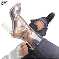 Sexy PVC Transparent Boots Sandals Peep Toe Kim Kardashian Shoes Clear Chunky heels Sandals Mujer Women Boots 11CM 699