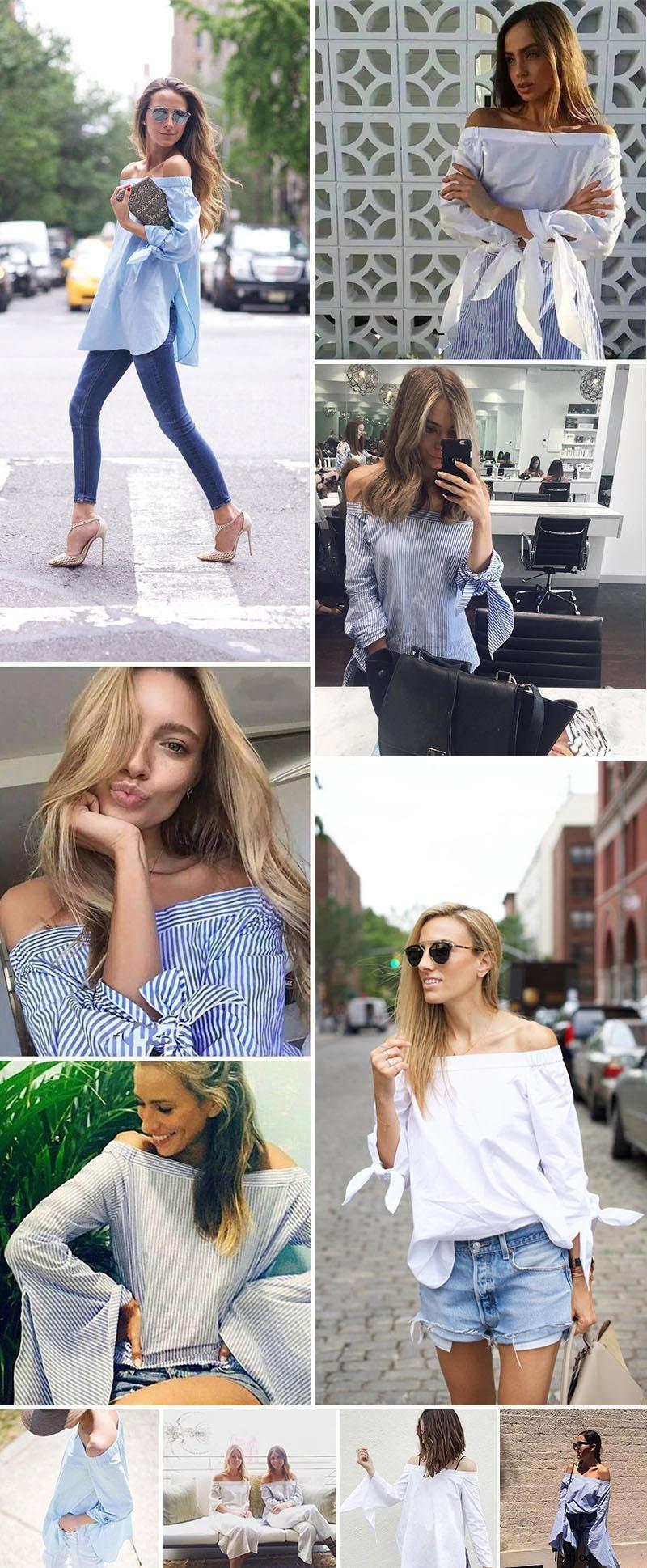 HTB1MUGAKVXXXXc9XXXXq6xXFXXXQ - Long Sleeve Casual Tops Shirts Blue White Striped Party Blusas