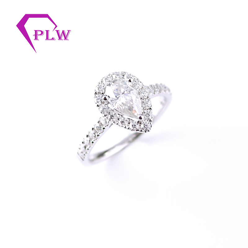 14K White Gold  1 Ct 5*8mm D Color Pear Cut Moissanite Diamond Halo Ring Engagement Ring For Anniversary Provence Jewelry