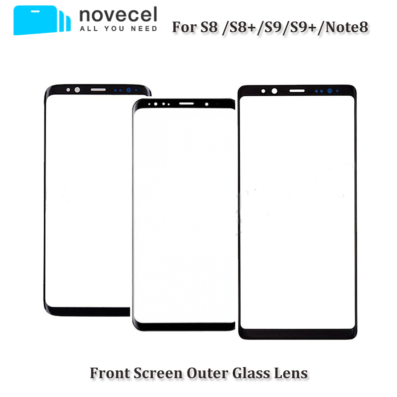 "Novecel AAA Front Outer Glass Lens Replacement For Samsung Galaxy S8 S9 5.8"" S8 S9 + plus G955 G965 6.2 "" Note 8 black"