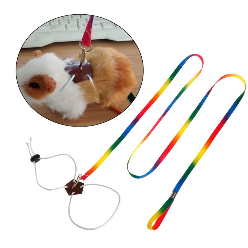 Pet Leash Small Pets Harness Hamster Rabbit Chinchilla Squirrel Outdoor Adjustable Chest Lead Rope Colorful 1.3m Long Animal