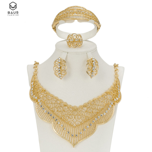 Latest Original Fashion Dubai Gold Color Full Crystal Bridal Wedding Jewelry Sets Italian Set For Women Party Accessories