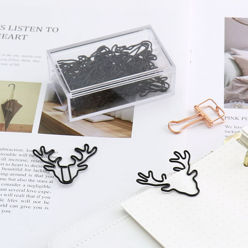 Deer Modeling Clip Lovely Bookmark Creative Stationery Box Large Pin Clip Clips Office Accessories Paperclips Metal Paper Clips