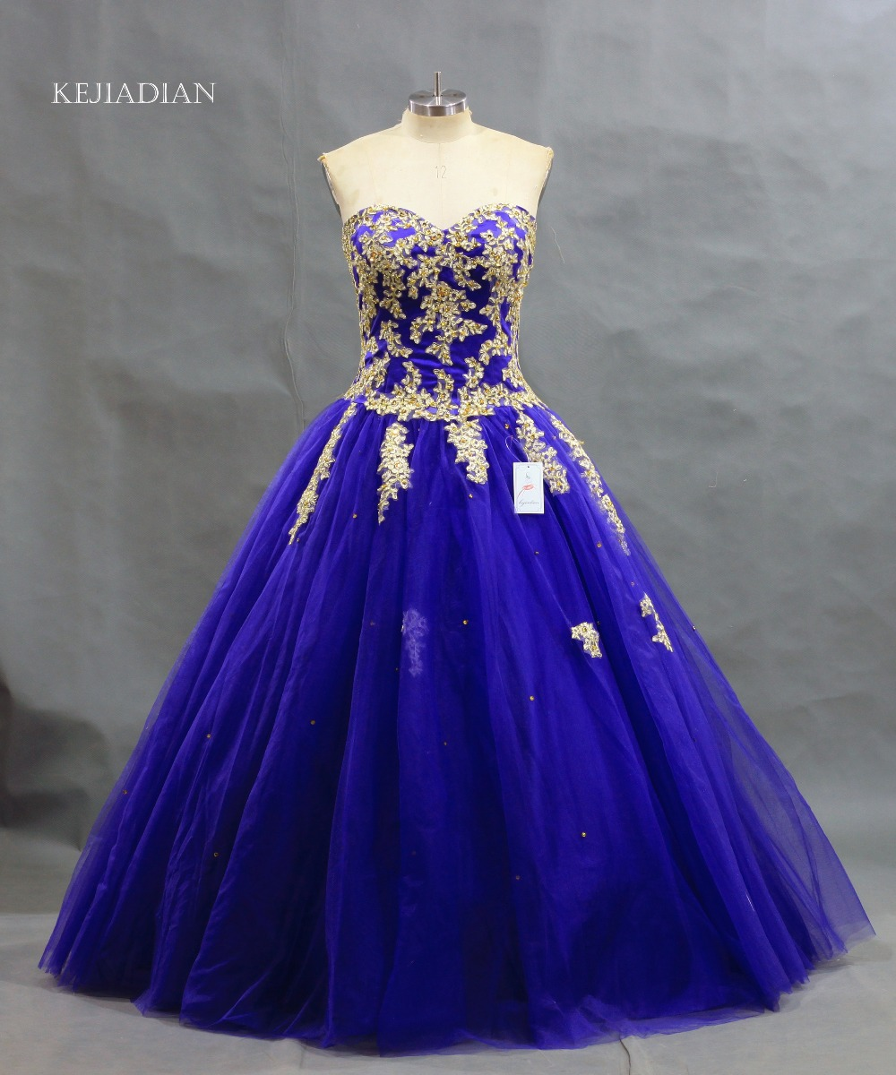 New Arrival Dark Royal Blue Ball Gown Gold Lace Applique ...
