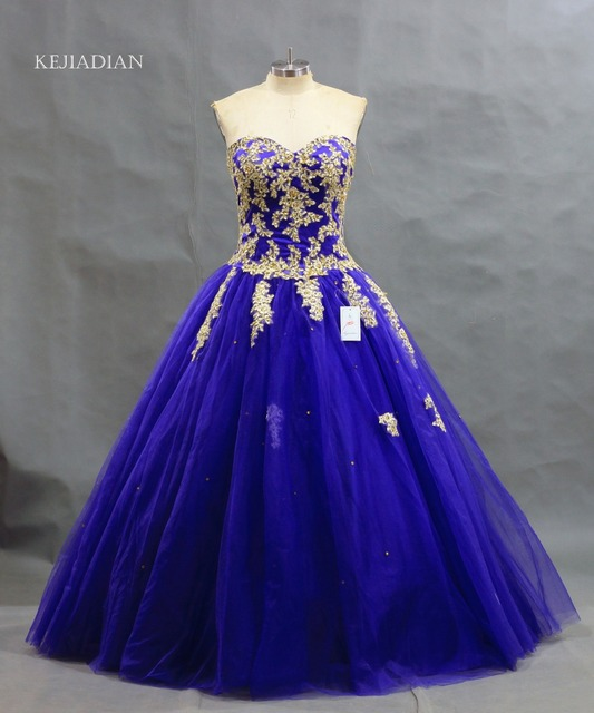 72302873be1 New Arrival Dark Royal Blue Ball Gown Gold Lace Applique Quinceanera Dresses  Puffy Sweet 16 Dress Plus Size Vestidos Debutante