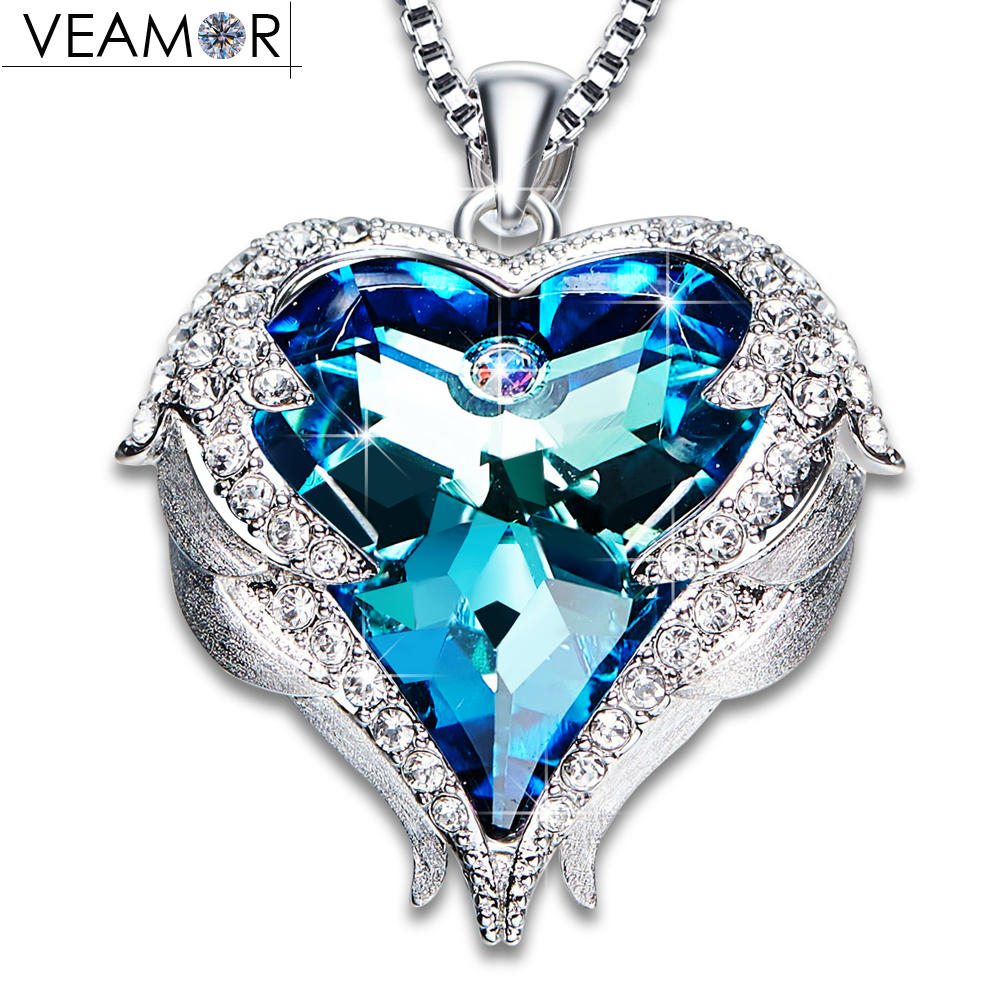 Veamor Angel Wings Pendant Necklaces Blue Crystal Heart Necklace For Women Christmas Jewelry Original Crystals From Austria rhinestone angel wings heart bracelet