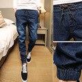 CALIENTE de La Manera de La Vendimia Bigote Efecto jeans Cintura Elástico Joggers pantalones de Los Muchachos Adolescentes Pie haz Halem pantalones vaqueros Demin de Los Hombres Delgados