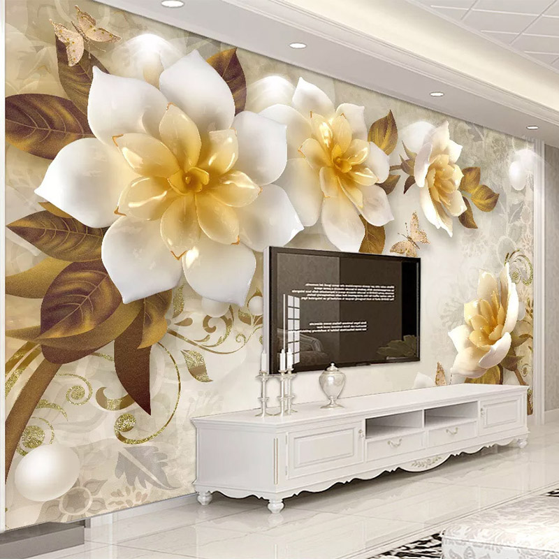 Photo Wallpaper 3D Stereo Flowers Retro Living Room TV Sofa Background Wall Painting Self-Adhesive Waterproof Canvas 3D Stickers