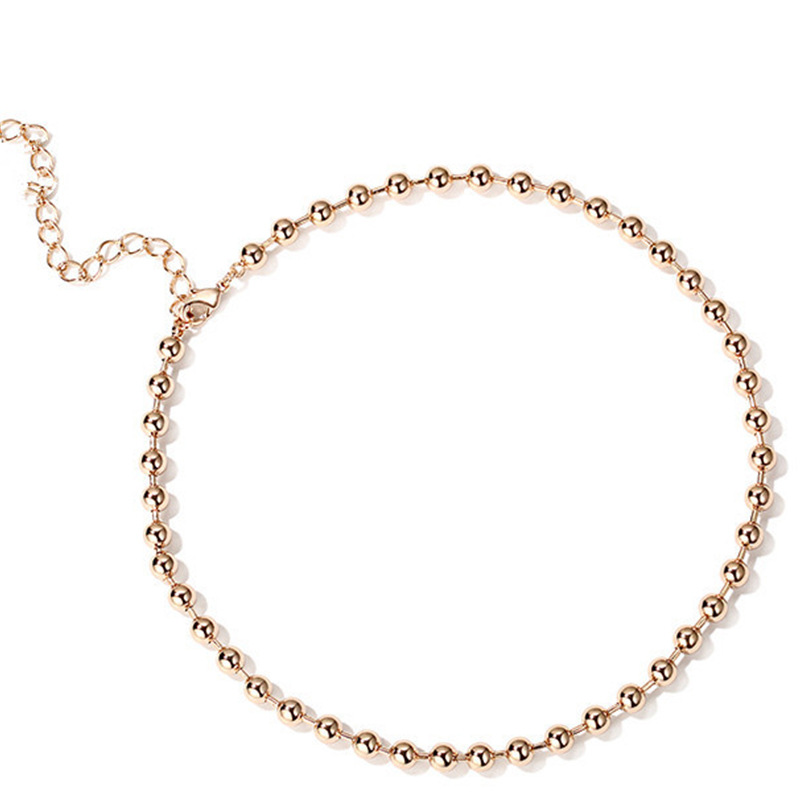 Fashion Women Gold Sliver Round Ball Chain Collar Clavicle Necklace Simple Everning Party OL Ladies Chocker Necklaces Jewelry