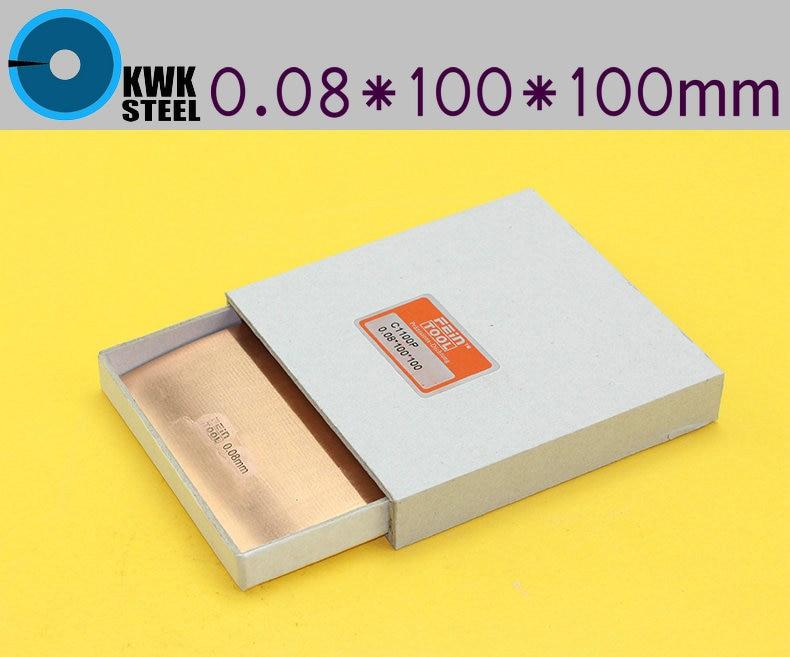 Copper Strips 0.08mm * 100mm *100mm Pure Cu Sheet  Plate High Precision 10pc Pure Copper Made In Germany