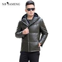 2017 New Fashion Winter Brand Leather Jacket Genuine Leather Hooded Design Trend Leather Jacket High Quality