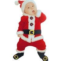 4PCS Infant Baby Clothes Warm Winter Santa Christmas Tops Patchwork Pants Hat Socks Outfit Set Vestido