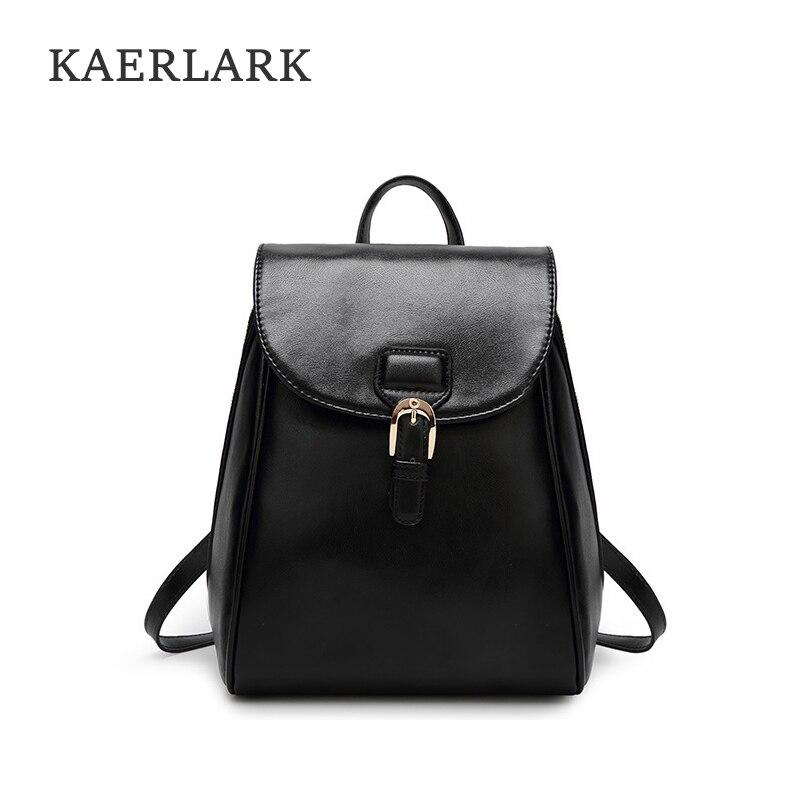 KAERLARK Brand New Women s PU Leather Female Soft Backpack Preppy Style School Bag For Girls